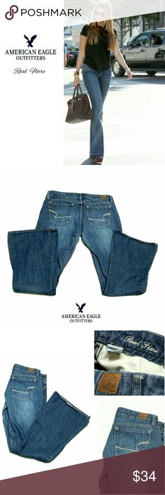"""AEO 100% COTTON REAL FLARE JEANS AEO 100% COTTON REAL FLARE JEANS Pre-Loved   RN# 54485  ca# 63873 Size 6 REG Approx Meas; Waist   16"""" Inseam   31"""" Rise   7"""" Leg Opening   10"""" Pls See All Pics. Ask ? If Needed American Eagle Outfitters Jeans Flare & Wide Leg"""