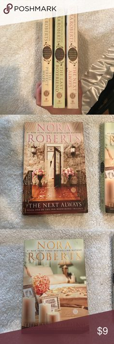 Full set- the Inn Boonsboro trilogy- Nora Roberts COMPLETE very lightly used set of 3 The Inn of Boonsboro trilogy by Nora Roberts. All trade paperback books are in good or better used condition. Published by Berkley. All books come from a smoke and pet-free home. *****  #1 The Next Always #2 The Last Boyfriend #3 The Perfect Hope ** Other