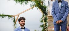 Noivo com terno azul claro e gravata borboleta. | Rio de Janeiro wedding photographer