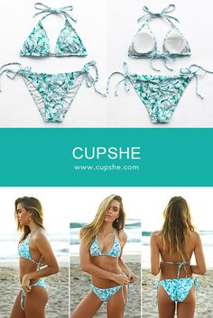 Lighweight Flowers In Ocean Halter Bikini Set, $19.99! Short Shipping Time! Easy Return + Refund! Imagine our excitement when we discover the chic halter bikini, it is a must-have for cool beach.