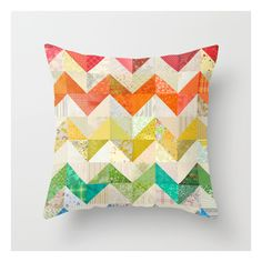 Chevron Rainbow Quilt Throw Pillow ($20) ❤ liked on Polyvore featuring home, home decor, throw pillows, zig zag throw pillows, chevron throw pillows, chevron home decor and patterned throw pillows