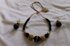 Black and Gold Beaded Choker by CHRYHAstyle on Etsy, $35.00