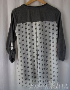 Pomelo Dido Mixed Print Knit Top back | This shirt looks so comfy for fall and also has polka dots - one of my favorites!