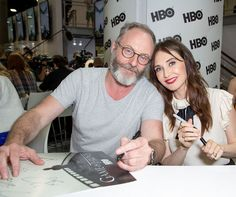 Liam Cunningham (Davos) and Carice van Houten (Melisandre) at Comic-Con International By all accounts, they're the best of friends.