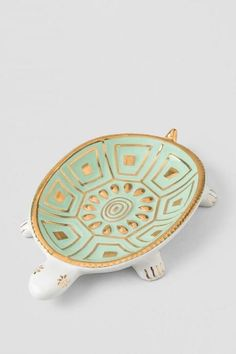 Mint and Gold Ceramic Turtle Trinket Dish