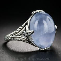 J.E. Caldwell Star Sapphire, Platinum and Diamond Art Deco Ring - 30-1-6234 - Lang Antiques