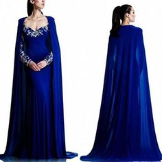 LEJY Women's Blue Mermaid Evening Dress With Cape Long Sleeve Prom... ($130) ❤ liked on Polyvore featuring dresses, gowns, long sleeve gowns, blue ball gown, long sleeve evening dresses, prom gowns and prom dresses