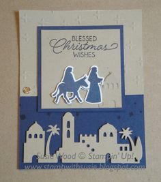 Here is a fun hinged card that I created for my Holiday Extravaganza. I love the colors of this card....and these Bethlehem Edgelits Dies...
