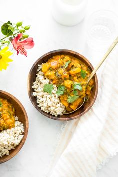 Cozy Butternut, Sweet Potato, and Red Lentil Stew | Vegan, dairy free, gluten free, and vegetarian. | Click for healthy recipe. | Via Oh She Glows
