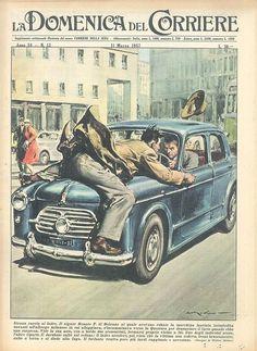 Full-la-domenica-del-corriere-cover Fiction Film, Pulp Fiction, Illustrations, Illustration Art, Cat Climbing, Dog Runs, Italian Artist, Pulp Art, Vintage Tv