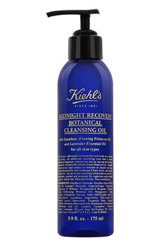 """""""If I have a bit more time and want to feel extra-clean, I'll massage two or three pumps of this cleansing oil all over my face. It helps my skin feel ridiculously soft.""""Kiehl's Midnight Recovery Cleansing Oil, $32, available at Kiehl's. #refinery29 http://www.refinery29.com/evening-routine-skin-care#slide-19"""