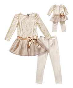 Another great find on #zulily! Tan Floral Lace Tunic Set & Doll Outfit - Toddler & Girls #zulilyfinds