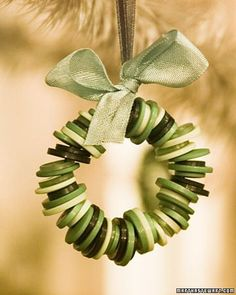 Button Wreath Ornament...  Needle-nose pliers or wire cutters  16-gauge copper wire, or 22-gauge green floral wire, cut to 9-inch lengths  72 buttons for each wreath  Scissors  Satin ribbon, 1/8 inch wide and 6 inches long  Seam binding for decorative bow