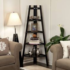 Product Image for Wood Tiered Corner Ladder Bookcase Display in Espresso 2 out of 2