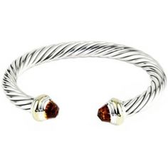 David Yurman Garnet Diamond Sterling Silver Bangle Bracelet