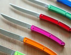 colorful steak knives by Laguiole Entertaining