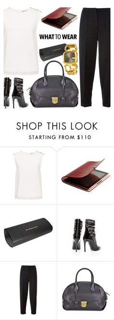 """""""WorkWear"""" by jomashop ❤ liked on Polyvore featuring Finders Keepers, Burberry, Philipp Plein, Alexander McQueen, Salvatore Ferragamo, WorkWear, gold, white and black"""