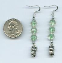 Green Glass Beaded Owl Charm Earrings - hand made  $4 shipped!