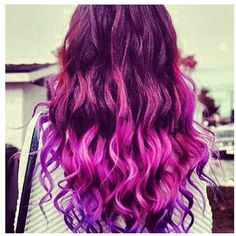Ombré pink/purple hair hairstyles ❤ liked on Polyvore featuring beauty products, haircare, hair styling tools, hair and hairstyles