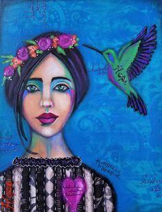 #kimberlymccormick #artbykimberly #beautyforashesartanddecor #christianart #hope #hummingbird #mixedmediagirl #portrait