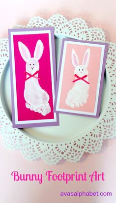 Bunny Footprint Art - A fun and easy craft that captures those tiny little footprints. Make them for grandparents for a sweet Easter keepsake!