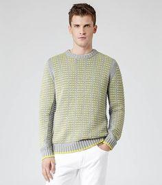 Joe Neon Contrast Weave Jumper in Grey #REISS #SS14