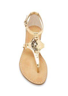 @ideel   #Guess #Gold Flat #Sandal