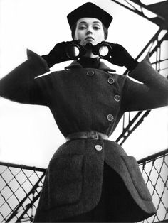 Dovima, Eiffel Tower, Paris, August 1950  Photographer: Richard Avedon  Tunic by Christian Dior