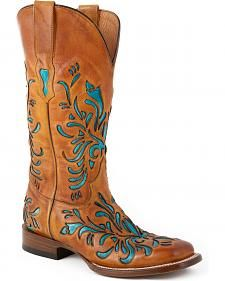Stetson Talon Turquoise Underlay Cowgirl Boots - Square Toe