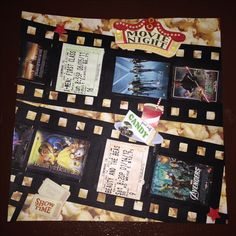 Movies, we saw this year; Page 2: My boyfriend and I like to go to the movies so I include a page like this in each of my albums... This is a 8 by 8 scrapbook page featuring film strips made with Sizzix Big Kicks die cut machine.
