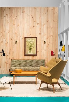 Room recreation from Mid-Century Modern: Australian Furniture Design, featuring designs by Gerard Doubé, Grant Featherston, Clement Meadmore and RiteLite, with painting by John Brack and ceramic by Stacha Halpern. Photo – Brooke Holm on thedesignfiles.net