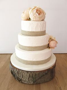 rustic wedding cake with floral topper  ~  we ❤ this! moncheribridals.com