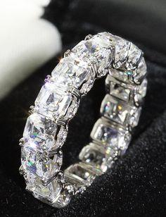"CT Platinum Diamond Emerald Cut ""U"" Prong Eternity Band Asscher Cut Diamond, Emerald Cut Diamonds, Diamond Cuts, Wedding Jewellery Inspiration, Wedding Jewelry, Wedding Rings, Anniversary Bands, Eternity Bands, Diamond Wedding Bands"