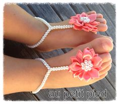 Baby barefoot sandals baby shower gift baby shoes by Aupetitpied, $22.00