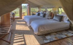 The Nxabega Okavango Safari Camp lies on the edge of the Okavango Delta in a eight wildlife concession bordering the Moremi Game Reserve. Safari Bedroom, Okavango Delta, Camps, Tent Camping, Outdoor Furniture, Outdoor Decor, Tents, Lodges, South Africa
