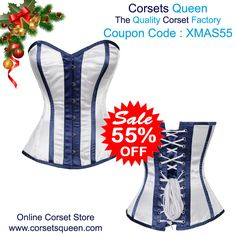 white and Blue Overbust Corset Dress, Overbust Corset, Christmas special Corset Dress.