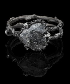 """""""Intrigue"""" rose cut 3 sided diamond claw ring 