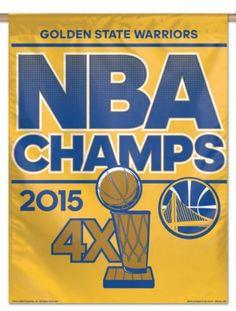Golden State Warriors 2015 4 Time NBA Champions WinCraft Gold Vertical Flag 269fde7a0