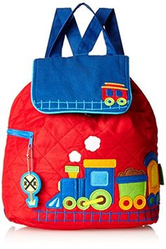 Stephen Joseph Quilted Backpack, Train: This little backpack is perfect for nursery, preschool, or a day at grandma's. the quilted cotton material is decorated with whimsical applique designs Little Backpacks, Kids Backpacks, School Backpacks, Backpacking Training, Articles Pour Enfants, Luggage Brands, Patchwork Bags, Kids Bags, Applique Designs