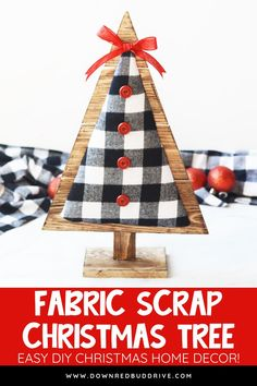 Jeweled Christmas Trees, Fabric Christmas Trees, Wooden Christmas Trees, Plaid Christmas, Christmas Home, Christmas Wreaths, Christmas Ornaments, Diy Christmas Decorations For Home, Easy Christmas Crafts