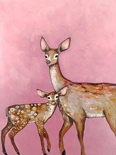 Deer with Fawn Pink - Giclée Print