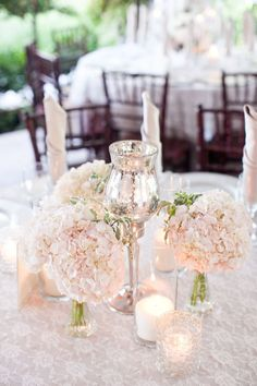 Classic White Wedding with DIY Details One look at this wedding and boom. Prettiest wedding ever. Maybe it's the ahh-dorable flower girls or the lace inspired cake design or the blush hued hydrangeas . Maybe it's the bride's gorgeous gown… Wedding Table, Diy Wedding, Dream Wedding, Wedding Day, Wedding Dress, Moon Wedding, Wedding Rehearsal, Reception Table, Wedding Beauty