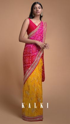 Sun Yellow And Magenta Half And Half Saree With Weaved Floral Jaal And Bandhani Print Online - Kalki Fashion Bengali Wedding, Saree Wedding, Indian Bridal, Satin Saree, Soft Silk Sarees, Bandhini Saree, Magenta, Saree Look, Elegant Saree
