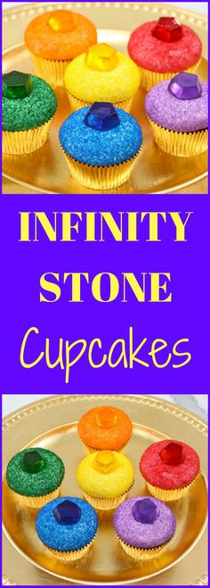 These Infinity Stone Cupcakes are made with Poprocks! It'll give you a burst of popping candy flavor. Makes 16 cupcakes. Marvel Cupcakes, Avenger Cupcakes, Marvel Cake, Avenger Cake, Avengers Birthday Cakes, Superhero Birthday Party, Boy Birthday Cupcakes, Boys Cupcakes, Birthday Ideas