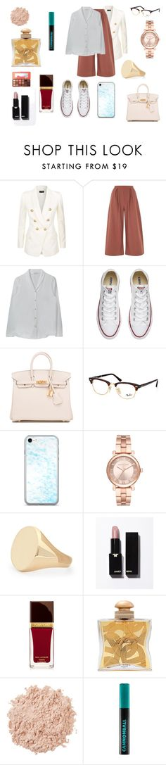 """""""Sin título #5838"""" by gise19 ❤ liked on Polyvore featuring Balmain, Oh My Love, Converse, Hermès, Ray-Ban, Michael Kors, Aurélie Bidermann, Tom Ford, La Mer and Urban Decay"""