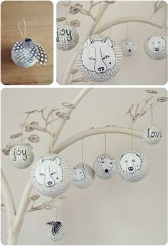 You'll need:  Some paper to rip up to papier-maché with, glue (I find wheat-based adhesive best for this type of project), plain baubles or polystyrene balls, masking tape, cotton/string, pens and paint.