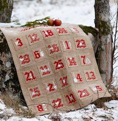 Burlap ADVENT CALENDAR Scandinavian Christmas. Cross stitch pattern download on etsy.