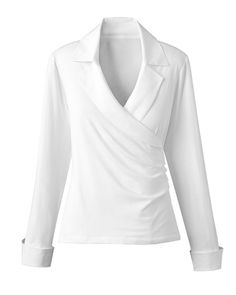 Donna Karan Stretch cotton-blend wrap shirt | the perfect white ...
