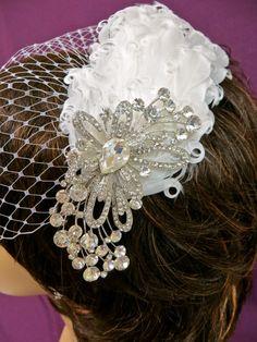 Bandeau Birdcage Veil Rhinestone Feather Veil Bridal by ctroum, $64.00