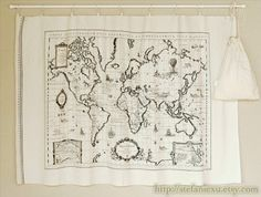 Home Decor Illust LinenVintage Looking World Map by stefaniexu, $15.50